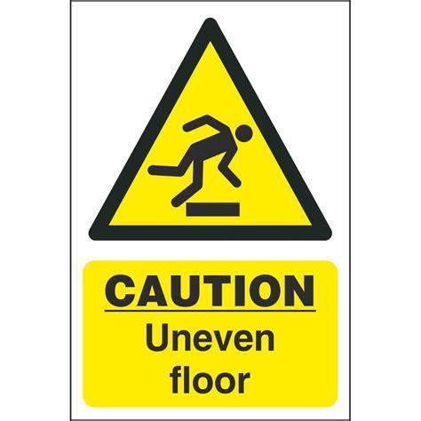 Sign Floor by Caution Uneven Floor Signs Hazard Construction Safety