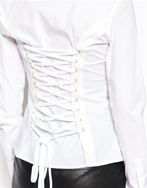 lace up back shirt lyst moschino shirt with lace up back in white