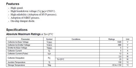 Transistor C6093 C 6093 c6093 2sc6093 color tv horizontal deflection output transistors