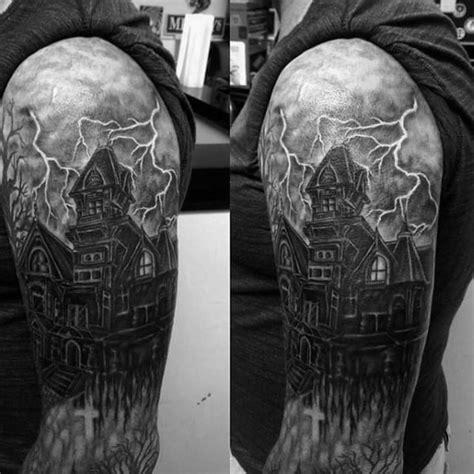 haunted house tattoo designs  men spooky spot ink