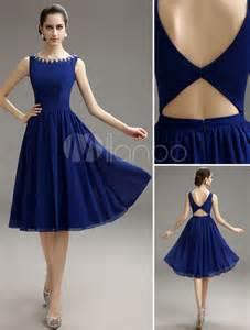 blue prom dress 2017 short chiffon beaded cocktail dress