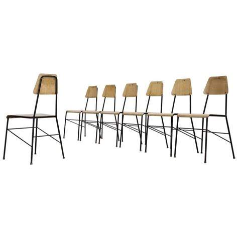 Metal Wire Dining Chairs by Set Of Seven Mid Century Dining Room Chairs In Black Metal