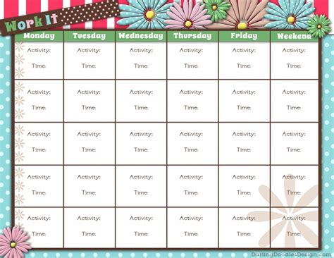 7 best images of printable monthly workout calendar