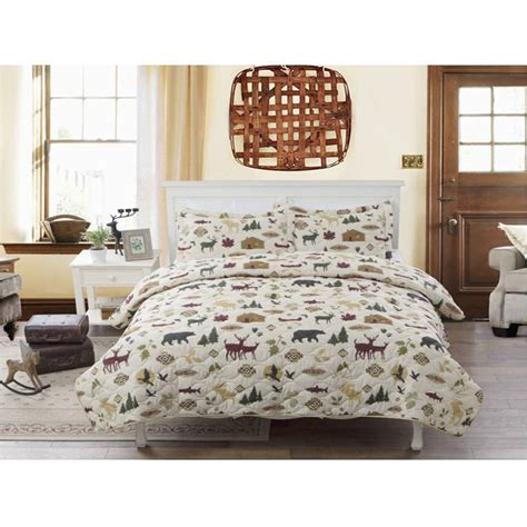 log cabin bedding rustic bear moose quilt country lodge log cabin bedding