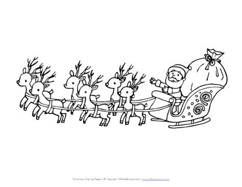 coloring page of santa in his sleigh santa flying in sleigh coloring page all kids network