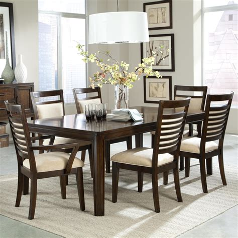 Dining Table With Upholstered Chairs 7 Dining Table Set And Upholstered Chairs With Ladder Back Wood Detailing