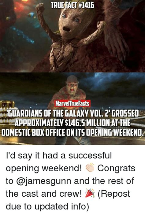 Guardians Of The Galaxy Memes - true fact 1416 marveltnuefacts guardians of the galaxy