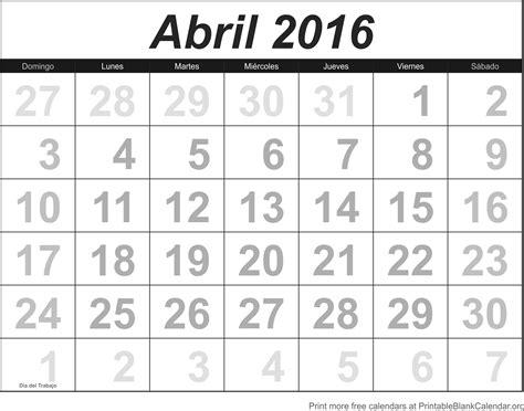 Calendario Imprimir Imprimir Calendario Abril 2016 Calendarios Para Imprimir