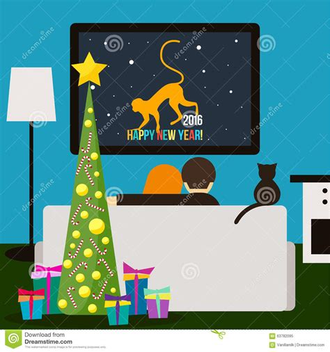 new year tv and cat television happy new year theme