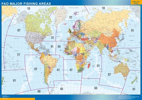 map of areas in our fao fishing areas wall maps mapmakers offers poster