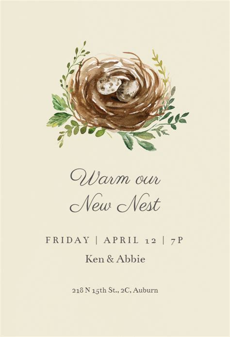 Birds nest   Housewarming Invitation Template (Free