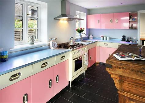 blue and pink 1950s kitchen decor ideas joanne russo