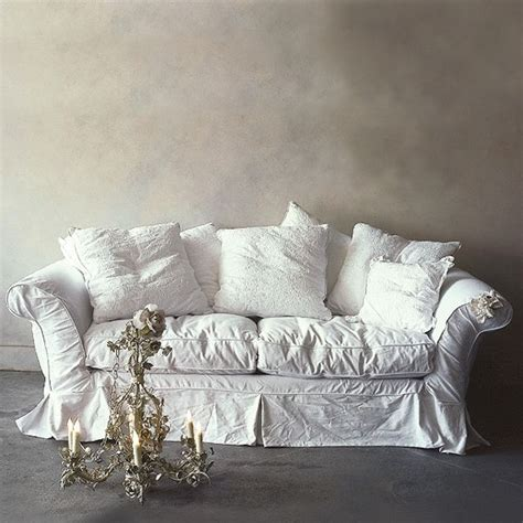 shabby chic slipcovered sofa beautify your ikea sofa with custom long skirt slipcovers