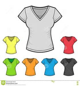 women s v neck t shirt design template color set stock vector image 42814470