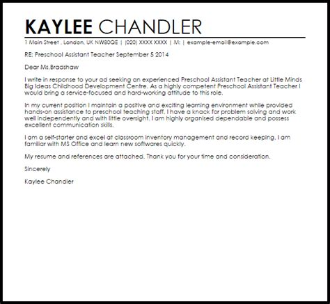 Kindergarten Assistant Cover Letter preschool assistant cover letter sle livecareer