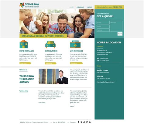 insurance agency wix web template templates
