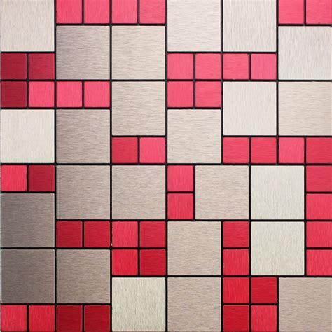 Adhsive Mosaic Tile Backsplash Brushed Metal Wall Decor Metal Wall Tiles For Kitchen