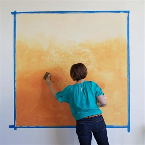 learn how to paint a stenciled ombre wall mural how tos diy