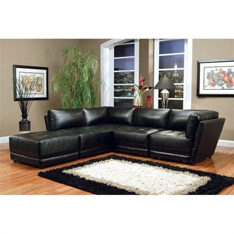 coaster leather sectional coaster kayson bonded leather sectional in black 500891