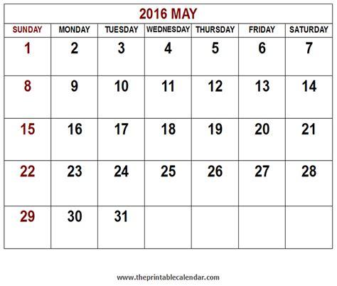 Calendar Printable 2016 May Printable 2016 May Calendar