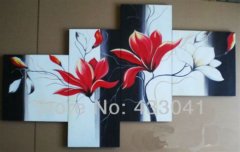 hand painted  pc set modern abstract black red white