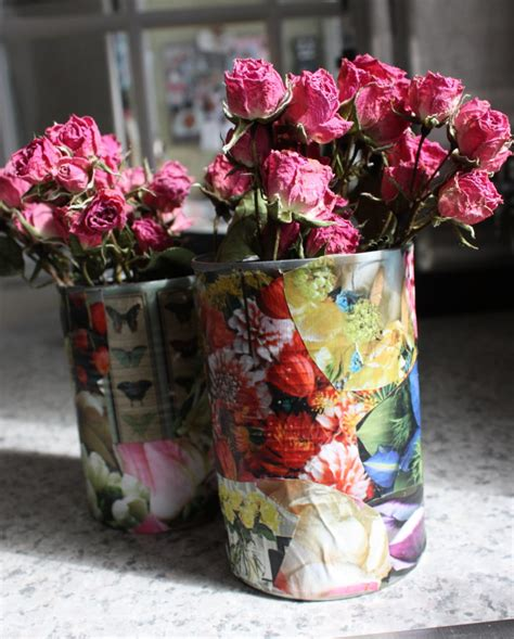 Can You Decoupage On Metal - how to repurpose decoupage tin can planters just craft