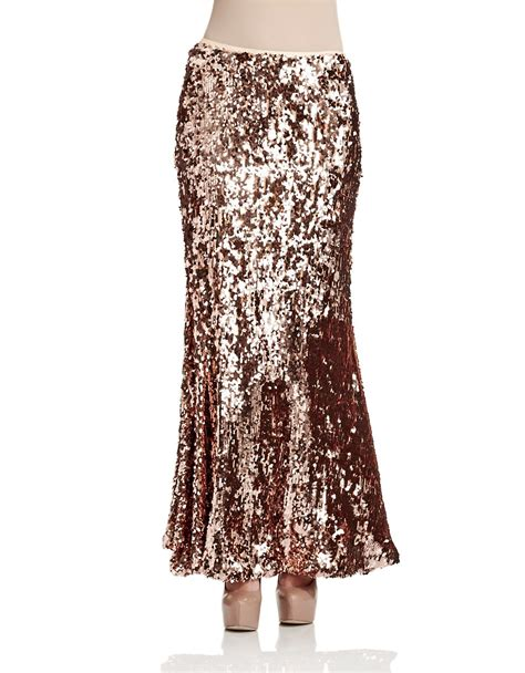 free people sequin skirt free sequined maxi skirt in gold lyst
