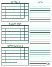 Calendar 2015 July August September 3 Month Calendar 2015