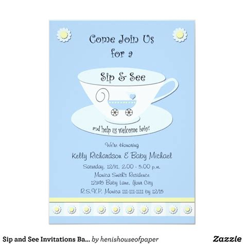 Sip And See Invitations Baby Boy Zazzle Sip And See Invitation Templates