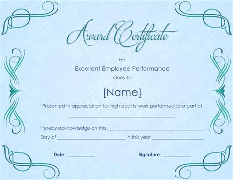 Excellent Employee Performance Award Certificate Template Employee Award Template