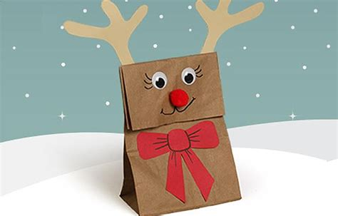 Reindeer Paper Bag Craft - reindeer gift bags for highlights your