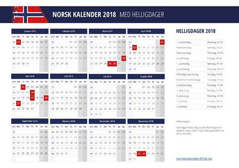 Kalender 2018 Helligdage Kalender 2018 Med Helligdager