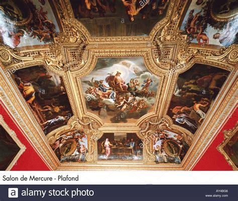 palace of versailles salon de mercure plafond stock photo