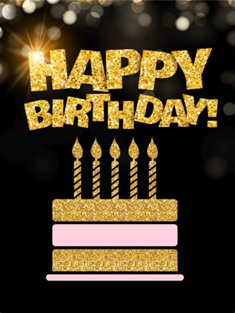 Golden Birthday Card Golden Birthday Cake Card Birthday Greeting Cards By Davia