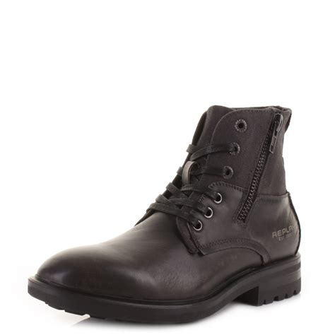 replay mens boots mens replay nest grey leather worker casual lace