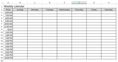 Week Calendar Template Excel free excel exles downloadexceltemplate