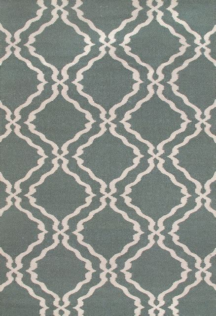 Teal Area Rug 5x8 Rugsville Trellis Dhurrie Light Teal Wool 13698 Rug 5x8 Contemporary Area Rugs By Rugsville
