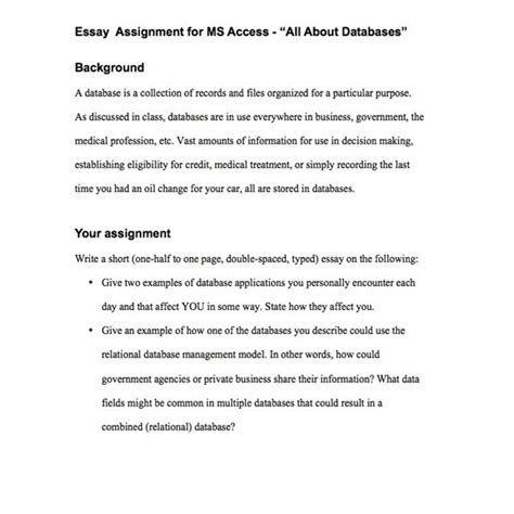 dissertation assignment lesson plan for database applications such as ms access