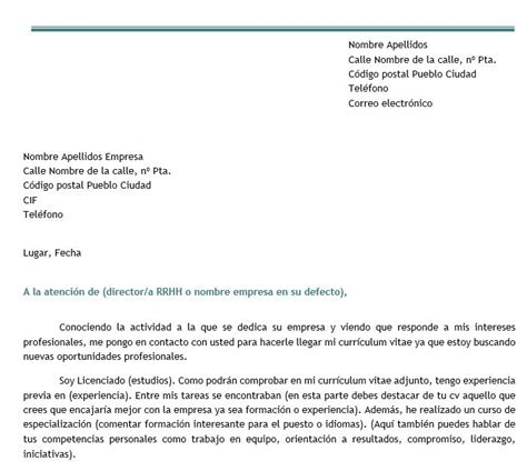 Ejemplo Modelo Carta De Presentación De Curriculum Vitae A Una Empresa Modelo De Carta De Autocandidatura Modelo Curriculum