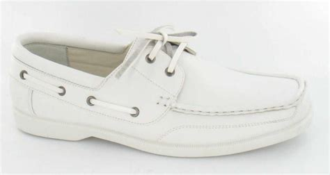 mens white leather look deck boat yachting boating shoes