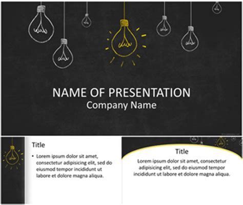 A Free Light Bulbs On Blackboard Powerpoint Template Free Powerpoint Templates Download Free Chalkboard Powerpoint Template