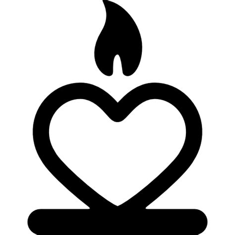 heart flame passion candle fire icon
