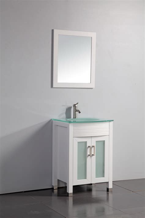 Modern Glass Bathroom Vanities Legion 24 Inch Modern Tempered Glass Sink Top Bathroom Vanity