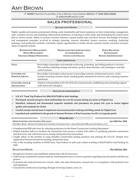 Sales Professional Resume Sle by Resume For Sales And Marketing Sales Sales Lewesmr