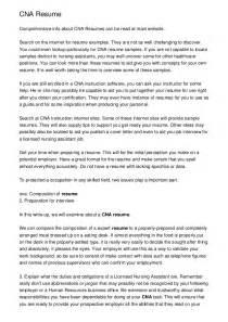 cna resume sle for new graduate cna cna resume