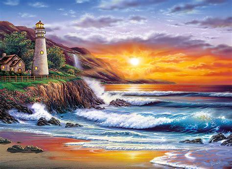 Jigsaw Puzzle Sunset On Llight 1000 puzzle sundram lighthouse at sunset clementoni 39368 1000 pieces jigsaw puzzles lighthouses