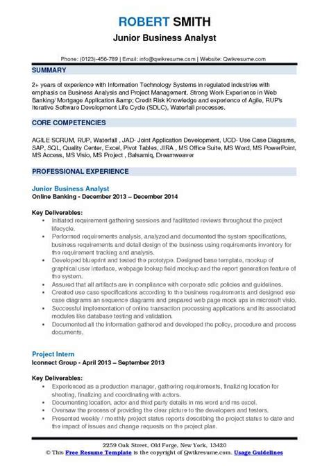 business analyst resume occupational examples samples free edit
