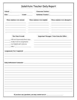 substitute daily report form by brandon flatt