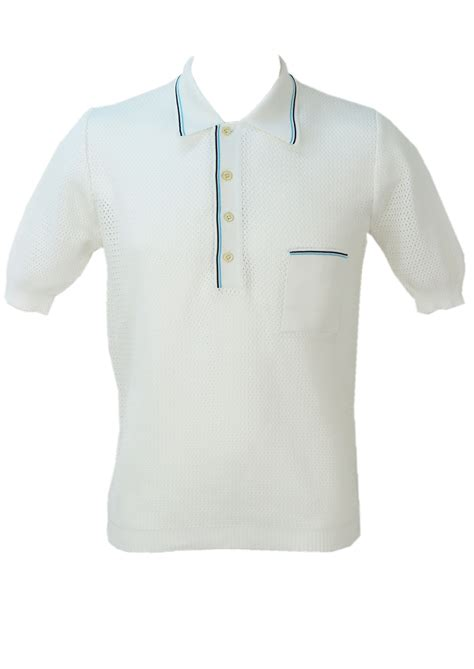 40626 White Mesh Ml Cardigan vintage 1960 s white mesh knit italian polo shirt m l