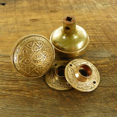 Decorative Door Knob Plates by Eastlake Brass Door Knob Pair With Decorative Plates